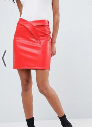 Яркая коралловая юбка эко-кожа asos большой размер