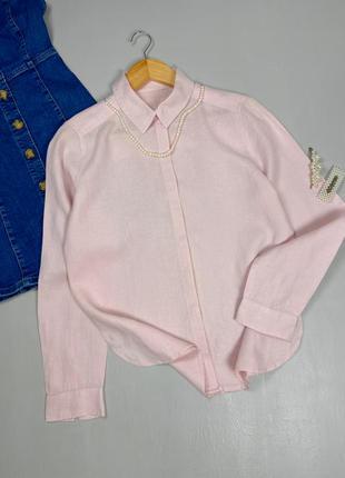 Льняная пудровая рубашка m&s