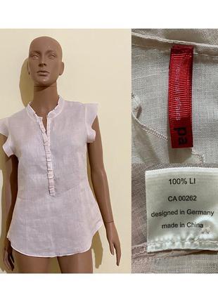 Нежная пудровая льняная блуза
