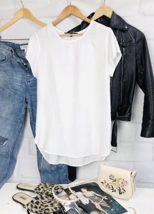 Блуза белая футболка белая прямого кроя однотонная базовая vero moda