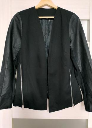 Кардиган пиджак жакет с кожаными рукавами
