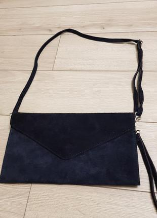 Замшевая сумка клатч италия, кожаная сумка италия, сумочка кроссбоди, сумка на плечо