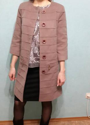 Очень стильное пальто в стиле шанель размер 42-44