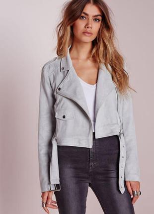 Стильная замшевая куртка косуха под поясок