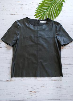 Блуза топ из эко кожи mango p.xs