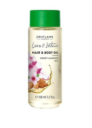 Миндальное масло для тела и волос love nature