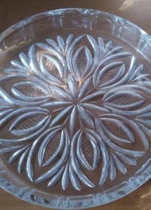 Блюдо тарелка хрустальная, хрусталь
