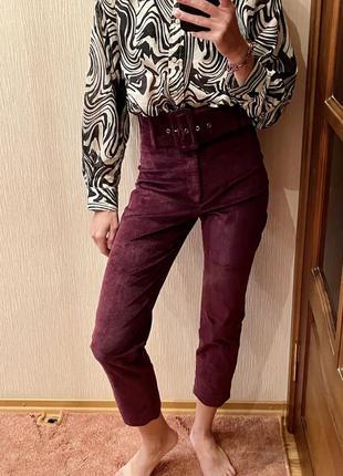 Брюки штаны вельветовые марсала с высокой талией