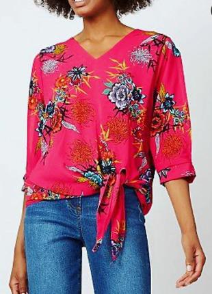 Блуза цветочный принт открытые руки и завязка внизу 18/52-54 размера