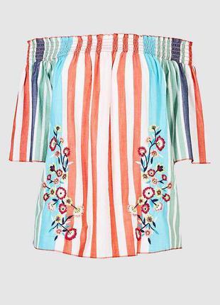 Хлопковая блуза в полоску с вышивкой 18/52-54 размера