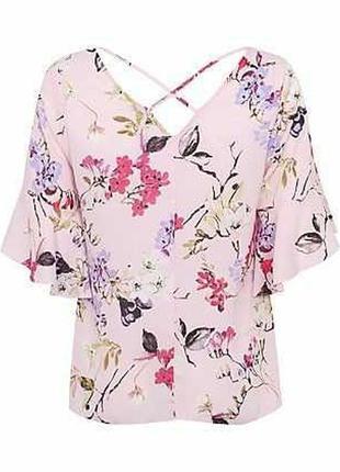 Романтичная шифоновая блуза цветочный принт рукав волан 18/52-54 размера