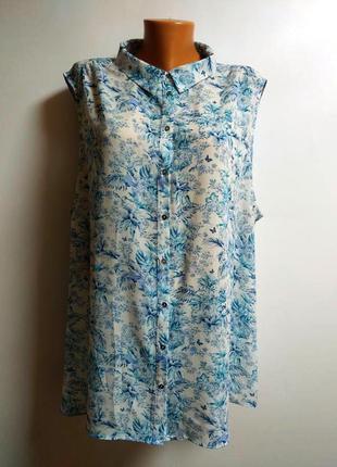 Красивая шифоновая блуза в принт бабочки птицы и цветы 24/58-60 размер