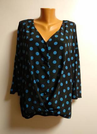 Трендовая блуза в горох с пуговицами 16/50-52 размера