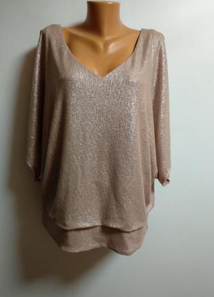 Шикарная блуза оверсайз металлик 20/54-56 размера