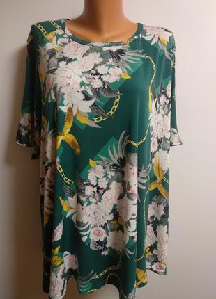 Новая стрейч блуза в принт цепи цветы птицы 60-62 размера