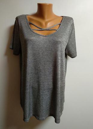 Стрейч футболка в рубчик с декором на груди 18/52-54 размер