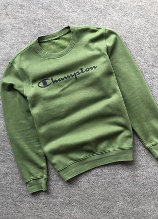 Оригінальний базовий світшот на флісі від champion big logo crew neck sweatshirt green
