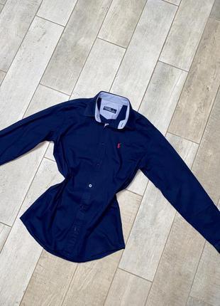 Синяя классическая рубашка(19)