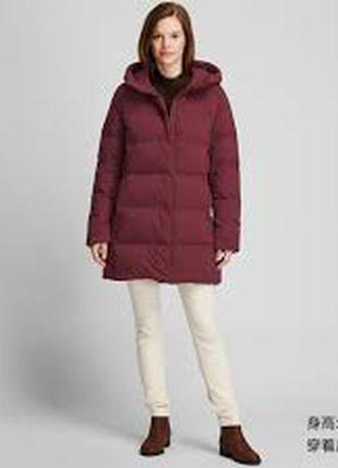 Куртка, пуховик зима uniqlo seamless down short coat, с капюшоном  m, red.