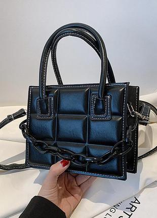 Елегантная прошита квадратами женская сумочка с цепочкой. ✔️съемный плечевой ремень