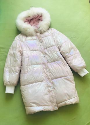 Куртка пуховик плащ пальто блискуча зефірка тепла зимова подростковая підліткова на плюші утеплена оверсайз