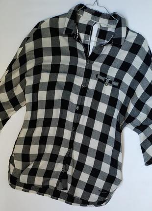 Натуральная широкая рубашка в клетку