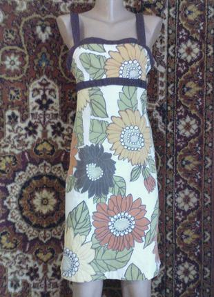 Сарафан платье винтажное в цветочный принт крупные цветы по фигуре