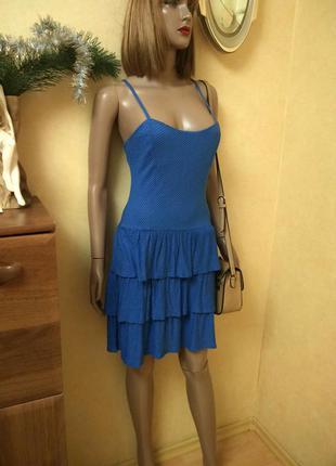Платье  сарафан с рюшами в мелкий горошек болгария от h&m
