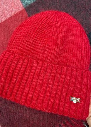 Шапка женская ангора с отворотом на полном флисе  зимняя красная