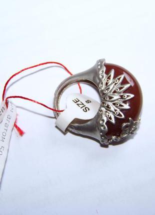 Крупное кольцо в винтажном стиле с кабошоном 17.5 мм диаметр