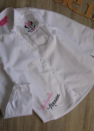 Рубашка disney белая с рукавом в школу рост 134