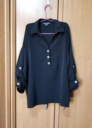 Стильная рубашка, чёрная блузка, блуза оверсайз