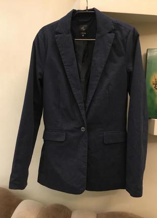 Пиджак жакет син сей синий хлопок тёплый осень