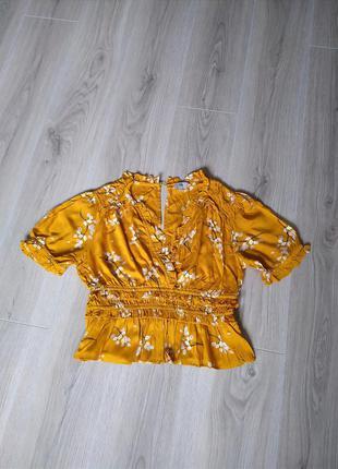 Фирменная блуза рубашка топ  на запах хит сезона