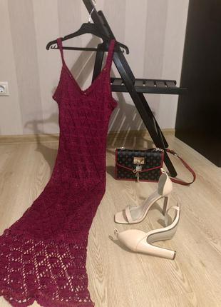 В'язаний сарафан, гачкована сукня, вязаный сарафан летний, винтаж