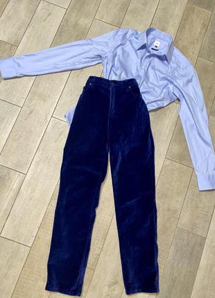 Синие бархатные брюки,вельветовые джинсы(20)