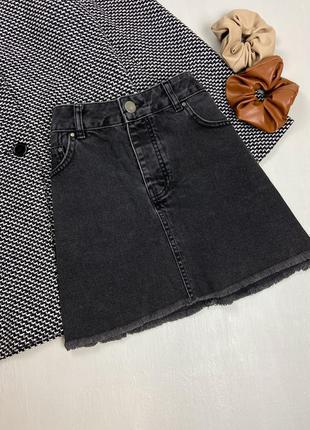 Граффитовая джинсовая юбка с необрубленным низом asos