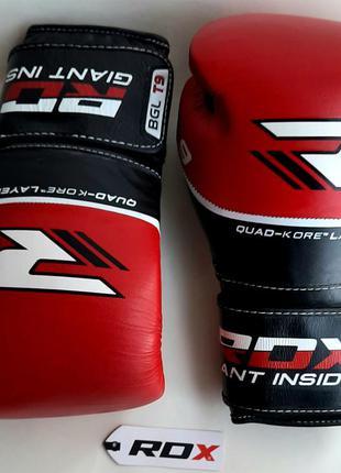 Боксёрские перчатки rdx quad kore red 16 чёрно-красные, 14 унций.