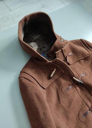 Английское мужское коричневое пальто дафлкот из шерсти