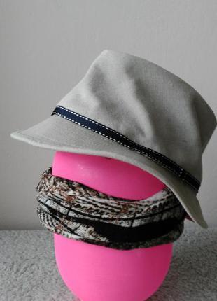 🎁🎁🎁льнаная шляпа светло-серого цвета , esprit оригинал размер 56-57