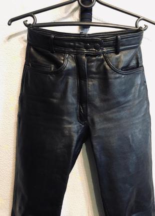 Штаны кожаные брюки чёрные кожа мото