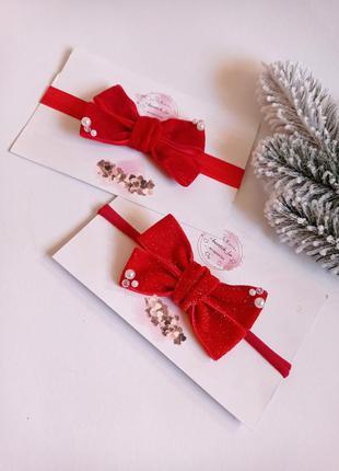 Бантики для девочек повязки для девочек новогодние повязки на новогоднюю фотосессию