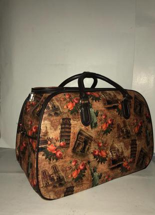 🔥в наличии! стильная дорожная сумка саквояж из эко кожи дорожня сумка ручна поклажка