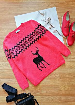 Женский брендовый теплый коралловый свитер с шерстью next - размер 54