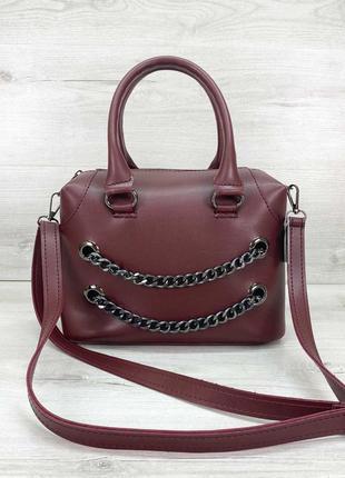 Женская сумка бордовая сумка среднего размера сумка с длинным ремешком сумка через плечо