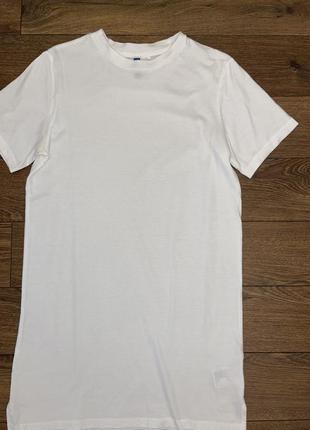 Стильное белое спортивное базовое платье футболка ''h&m'',xs/s 100% хлопок