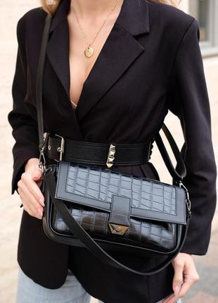 Женская сумка через плечо черная сумка багет черный клатч багет сумка рептилия кроссбоди
