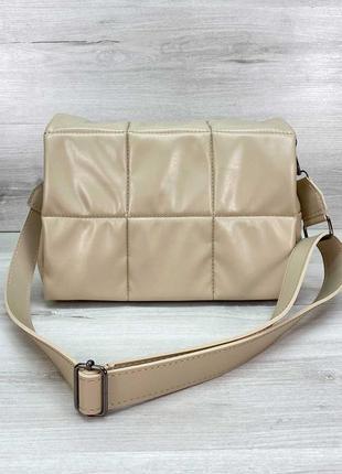 Сумка бежевая сумка на плечо сумка среднего размера стеганая сумка стеганная сумка через плечо
