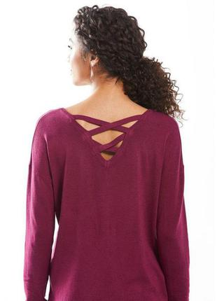 Пуловер свитер трикотаж с переплетом на спине малиновый esmara германия р. 46/48