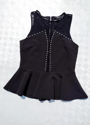 Чёрная блуза с баской и сеткой tally weijl